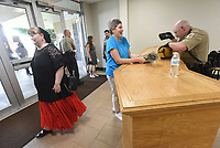 Benton County deputies search bags Tuesday July 20 2021 of people attending the pro-life resolution at Northwest Arkansas Community College.<br />(NWA Democrat-Gazette/Flip Putthoff)