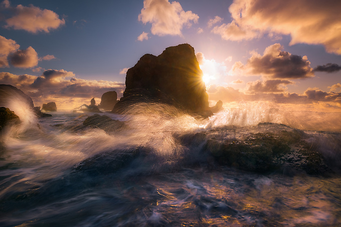 A not-often seen side of Cannon Beach, photographed amidst the violent waves of an incoming tide at sunset.<br /> <br /> ARTIST CHOICE: 24x36 Lumachrome/Acylic