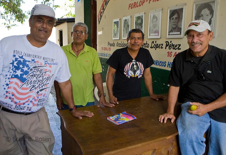Four proud FSLN Sandinista's inside the Museum of the Revolution, Leon, Nicaragua