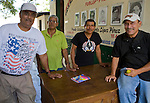 Four proud FSLN Sandinista's inside the Museum of the Revolution, Leon, Nicaragua