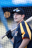 Freddy Sanchez of the Pittsburgh Pirates during batting practice before a game against the Los Angeles Dodgers in a 2007 MLB season game at Dodger Stadium in Los Angeles, California. (Larry Goren/Four Seam Images)