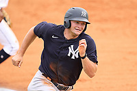 New York Yankees Ryder Green (58) rounds third base during an Extended Spring Training game against the Detroit Tigers on June 19, 2021 at Tigertown in Lakeland, Florida.  (Mike Janes/Four Seam Images)