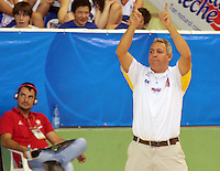 BUCARAMANGA -COLOMBIA, 25-03-2013. José Dilone, entrenador de Búcaros, gesticula durante partido de la décimanovena fecha de la Liga DirecTV de baloncesto profesional colombiano disputado en la ciudad de Bucaramanga./ Jose Dilone, Bucaros' coach, gestures during game of the nineteenth date of the DirecTV League of professional Basketball of Colombia at Bucaramanga city. Photo:VizzorImage / Jaime Moreno / STR