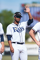 Peoria Javelinas catcher Ronaldo Hernandez (10), of the Tampa Bay Rays organization, during player introductions before the Arizona Fall League Championship game against the Salt River Rafters at Scottsdale Stadium on November 17, 2018 in Scottsdale, Arizona. Peoria defeated Salt River 3-2 in 10 innings. (Zachary Lucy/Four Seam Images)