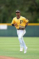 FCL Pirates Gold outfielder Randy Romero (23) jogs to the dugout during a game against the FCL Red Sox on July 1, 2021 at Pirate City in Bradenton, Florida.  (Mike Janes/Four Seam Images)