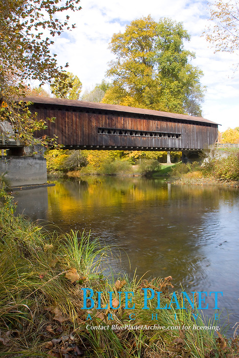 Benetka Road Covered Bridge. 138 ft in length. Located over the Ashtabula River in northeastern Ohio. Built in 1900. Renovated in 1985.