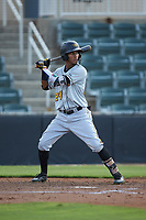 Lolo Sanchez (24) of the West Virginia Power at bat against the Kannapolis Intimidators at Kannapolis Intimidators Stadium on July 25, 2018 in Kannapolis, North Carolina. The Intimidators defeated the Power 6-2 in 8 innings in game one of a double-header. (Brian Westerholt/Four Seam Images)