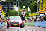 Matej Mohoric (SLO) Bahrain-Victorious from the breakaway wins solo Stage 7 of the 2021 Tour de France, running 249.1km from Vierzon to Le Creusot, France. 2nd July 2021.  <br /> Picture: A.S.O./Pauline Ballet | Cyclefile<br /> <br /> All photos usage must carry mandatory copyright credit (© Cyclefile | A.S.O./Pauline Ballet)