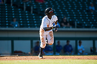 Mesa Solar Sox center fielder Daz Cameron (13), of the Detroit Tigers organization, runs to first base during an Arizona Fall League game against the Glendale Desert Dogs at Sloan Park on October 27, 2018 in Mesa, Arizona. Glendale defeated Mesa 7-6. (Zachary Lucy/Four Seam Images)