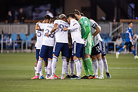 SAN JOSE, CA - MAY 01: DC United Players huddle before a game between San Jose Earthquakes and D.C. United at PayPal Park on May 01, 2021 in San Jose, California.