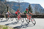 Tiesj Benoot (BEL) Team Sunweb wearing the Green Jersey on the front of the peloton in action during Stage 7 of the 78th edition of Paris-Nice 2020, running 166.5km from Nice to Valdeblore La Colmiane, France. 14th March 2020.<br /> Picture: ASO/Fabien Boukla | Cyclefile<br /> All photos usage must carry mandatory copyright credit (© Cyclefile | ASO/Fabien Boukla)