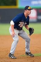 Elizabethton Twins third baseman Tyler Mautner (19) on defense against the Burlington Royals at Burlington Athletic Park on June 25, 2014 in Burlington, North Carolina.  The Twins defeated the Royals 8-0. (Brian Westerholt/Four Seam Images)