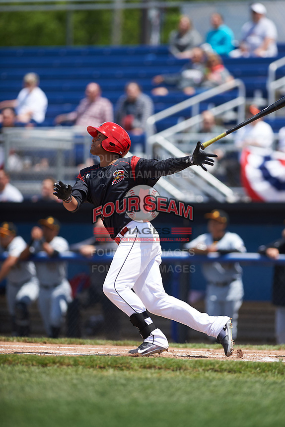 Batavia Muckdogs left fielder Jhonny Santos (13) at bat during a game against the West Virginia Black Bears on June 25, 2017 at Dwyer Stadium in Batavia, New York.  West Virginia defeated Batavia 6-4 in the completion of the game started on June 24th.  (Mike Janes/Four Seam Images)
