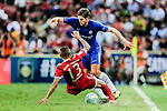 Chelsea Defender Marcos Alonso (R) trips up with Bayern Munich Defender Rafinha de Souza (L) during the International Champions Cup match between Chelsea FC and FC Bayern Munich at National Stadium on July 25, 2017 in Singapore. Photo by Marcio Rodrigo Machado / Power Sport Images