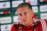Pictured: Garry Monk Friday 28 August 2015<br /> Re: Swansea City FC manager Garry Monk gives a press conference ahead of his team's Premier League game against Manchester United at the Liberty Stadium, Swansea, UK