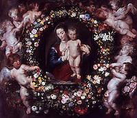 Peter Paul Rubens 1577-1640. Madonna in Blumenkranz.   Alte Pinakothek, Munich.  Reference only.