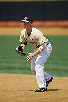 Wake Forest Demon Deacons first baseman Gavin Sheets (24) on defense against the Pitt Panthers at David F. Couch Ballpark on May 20, 2017 in Winston-Salem, North Carolina. The Demon Deacons defeated the Panthers 14-4.  (Brian Westerholt/Four Seam Images)