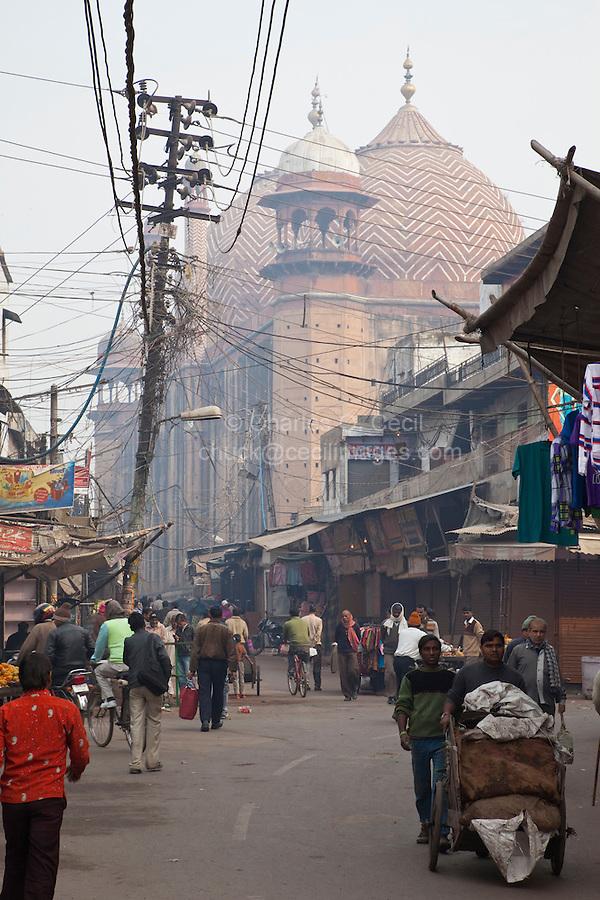 Agra, India.  Jama Masjid, the Friday Mosque, built 1648, seen from a street in the Kinari Bazaar.
