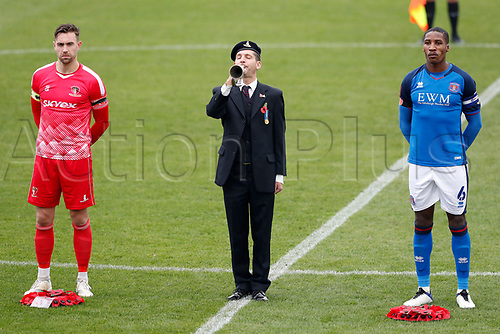 8th November 2020; SkyEx Community Stadium, London, England; Football Association Cup, Hayes and Yeading United versus Carlisle United; Liam McDevitt of Hayes and Yeading United and Aaron Hayden of Carlisle United stand for a two minutes silence as a bugler plays