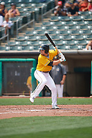 Preston Palmeiro (3) of the Salt Lake Bees at bat against the Las Vegas Aviators at Smith's Ballpark on July 25, 2021 in Salt Lake City, Utah. The Aviators defeated the Bees 10-6. (Stephen Smith/Four Seam Images)