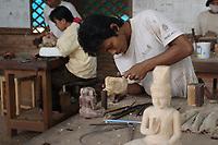 Siem Reap, Cambodia - 2007 File Photo -<br /> <br /> <br /> wood carver, <br /> photo : James Wong-  Images Distribution