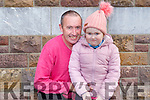 Mary Kate Wall with her dad Mikey Wall at her first day in Presentation NS Tralee on Monday.