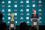 Hungary will host the Grande Partenza of Giro d'Italia 2020. This afternoon in Budapest at the Italian Cultural Institute the Grande Partenza was officially announced in the presence of the Government Commissary for Active Hungary, Máriusz Révész; the Deputy Mayor of Budapest, Alexandra Szalay-Bobrovniczky; the Minister of Sport, Tünde Szabó; the Minister of Foreign Affairs, Tamás Menczer; the RCS Sport CEO,Paolo Bellino and the Giro d'Italia Director, Mauro Vegni. 15th April 2019.<br /> Picture: Lounge Design   Cyclefile<br /> <br /> All photos usage must carry mandatory copyright credit (© Cyclefile   Lounge Design)