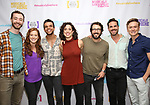 """Alex Gibson, Kennedy Caughell, Blaine Alden Krauss, Mary Page Nance, Josh Groban, Nicholas Belton and Josh Canfield backstage at the New York Musical Festival production of  """"Alive! The Zombie Musical"""" at the Alice Griffin Jewel Box Theatre on July 29, 2019 in New York City."""