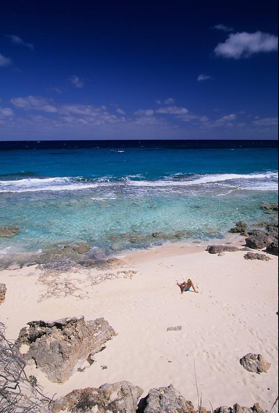 Beach on ocean side of Stocking Island, Exumas, Bahamas Out Islands