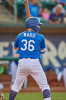 Ryan Ward (36) of the Ogden Raptors at bat against the Orem Owlz at Lindquist Field on July 27, 2019 in Ogden, Utah. The Raptors defeated the Owlz 14-1. (Stephen Smith/Four Seam Images)