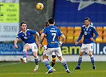 St Johnstone v Motherwell…21.11.20   McDiarmid Park      SPFL<br />Danny McNamara clears from Devante Cole<br />Picture by Graeme Hart.<br />Copyright Perthshire Picture Agency<br />Tel: 01738 623350  Mobile: 07990 594431