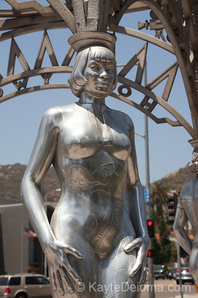 Hollywood La Brea Gateway at the intersection of Hollywood Blvd. and La Brea Avenue is a tribute to the women of Hollywood, White, Hispanic, Asian-American and African-American.  The four women represented by the statues are Mae West, Dolores Del Rio, Anna Mae Wong and Dorothy Dandridge.  Hollywood, CA