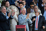 June 6, 2015: Former President Bill Clinton celebrates after American Pharaoh, ridden by Victor Espinoza, wins the Belmont Stakes at Belmont Park on Elmont, New York to become the 12th Triple Crown winner in thoroughbred racing history. Jon Durr/ESW/CSM