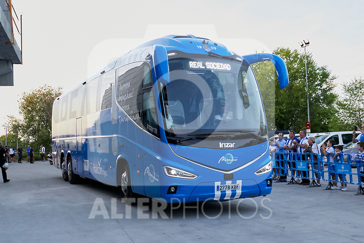 Real Sociedad's bus arriving to the stadium before La Liga match. August 24, 2018. (ALTERPHOTOS/A. Perez Meca)