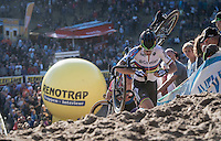World Champion Wout Van Aert (BEL/Crelan-Vastgoedservice) coming out of 'The Pit'<br /> <br /> CX Superprestige Zonhoven 2016