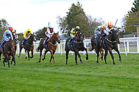 Winner of The Consign With Byerley Stud Handicap (Div 2)            Raha (orange) ridden by Dylan Hogan and trained by Julia Feilden during Horse Racing at Salisbury Racecourse on 1st October 2020