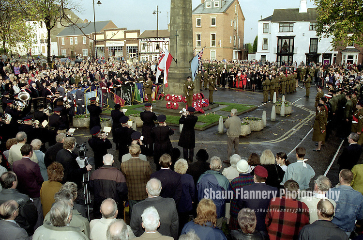 Pix: Shaun Flannery/shaunflanneryphotography.com...COPYRIGHT PICTURE>>SHAUN FLANNERY>01302-570814>>07778315553>>..12th November 1995..Remembrance Day at the war memorial in Bennethorpe, Doncaster..Remembrance Day, also known as Poppy Day of Armistice Day, is a memorial day observed in Commonwealth countries since the end of World War 1 to remember the members of their armed forces who have died in the line of duty.  Pix: Shaun Flannery/shaunflanneryphotography.com...COPYRIGHT PICTURE>>SHAUN FLANNERY>01302-570814>>07778315553>>..12th November 1995..Remembrance Day at the war memorial in Bennethorpe, Doncaster..Remembrance Day, also known as Poppy Day of Armistice Day, is a memorial day observed in Commonwealth countries since the end of World War 1 to remember the members of their armed forces who have died in the line of duty.