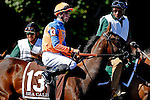 ARLINGTON HEIGHTS, IL - AUGUST 13: Sea Calisi #13, ridden by Florent Geroux, during the post parade before winning the Beverly D. Stakes at Arlington International Racecourse on August 13, 2016 in Arlington Heights, Illinois. (Photo by Jon Durr/Eclipse Sportswire/Getty Images)