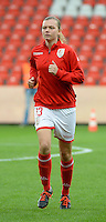 20151007 - LIEGE , BELGIUM : Standard 's  Yuna Appermont pictured during the female soccer match between STANDARD Femina de Liege and 1. FFC Frankfurt , in the 1/16 final ( round of 32 ) first leg in the UEFA Women's Champions League 2015 in stade Maurice Dufrasne - Sclessin in Liege. Wednesday 7 October 2015 . PHOTO DAVID CATRY