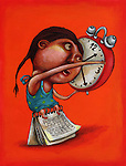 Illustrative image of girl with alarm clock and calendar representing time management