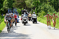 10th July 2021; Carcassonne, France; The escape group guided by men in strings during stage 14 of the 108th edition of the 2021 Tour de France cycling race, a stage of 183,7 kms between Carcassonne and Quillan