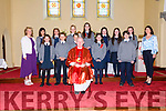 Pupils from Scoil Bhreac Chluain, Annascaul, the day of their Confirmation at the Church of the Sacred Heart on Wednesday afternoon. Front left: Molly McCarthy, Darius McCormack, Sean Kennedy, Eleanor Ashe, Connor McCafferty, and, back left: Sameera Bhansari Sayers, Aine Curran, Thomas Rohan, Niamh Hanafin, Katie O'Donnell, Aine Newsome, Grace Kennedy, here pictured with Muinteoir Clar Uí Mhurchadha, Principal Mary Murphy and fr. Michael Moynihan.