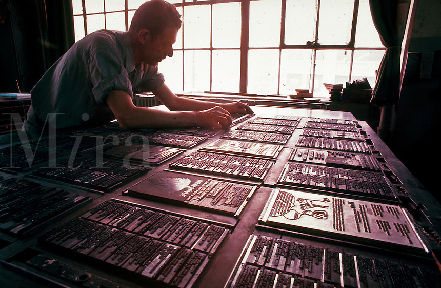 A typesetter at work.