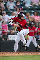 Jonathan Meyer (35) of the Hickory Crawdads at bat against the West Virginia Power at L.P. Frans Stadium on August 15, 2015 in Hickory, North Carolina.  The Power defeated the Crawdads 9-0.  (Brian Westerholt/Four Seam Images)