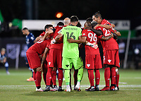 LAKE BUENA VISTA, FL - JULY 26: Toronto FC huddle during a game between New York City FC and Toronto FC at ESPN Wide World of Sports on July 26, 2020 in Lake Buena Vista, Florida.