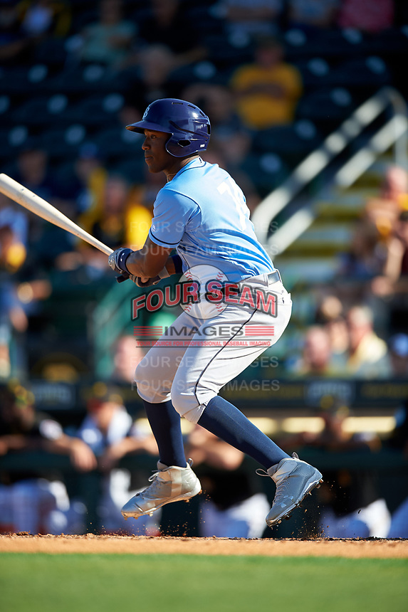 Tampa Bay Rays right fielder Justin Williams (74) follows through on a swing during a Spring Training game against the Pittsburgh Pirates on March 10, 2017 at LECOM Park in Bradenton, Florida.  Pittsburgh defeated New York 4-1.  (Mike Janes/Four Seam Images)