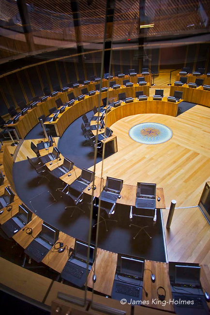 The debating Chamber or Senedd of the National Assembly for Wales in Cardiff, from the public access viewing area.