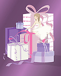 Illustration of bride opening gifts against purple background