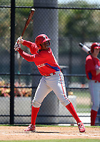 March 30, 2010:  Third Baseman Maikel Franco of the Philadelphia Phillies organization during Spring Training at the Carpenter Complex in Clearwater, FL.  Photo By Mike Janes/Four Seam Images