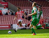 5th April 2021; Bet365 Stadium, Stoke, Staffordshire, England; English Football League Championship Football, Stoke City versus Millwall; Jacob Brown of Stoke City takes a shot on goal